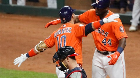 <p>               Houston Astros' Yuli Gurriel (10) celebrates with Yordan Alvarez past Washington Nationals catcher Yan Gomes after his home run during the second inning of Game 7 of the baseball World Series Wednesday, Oct. 30, 2019, in Houston. (AP Photo/Sue Ogrocki)             </p>