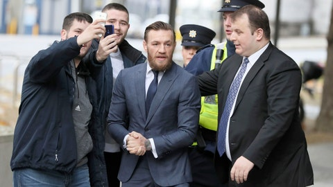 <p>               UFC fighter Conor McGregor arrives at the District Court where he will appear on an assault charge after allegedly punching a man at a pub, in Dublin, Ireland, Friday Nov. 1, 2019.  (Brian Lawless/PA via AP)             </p>