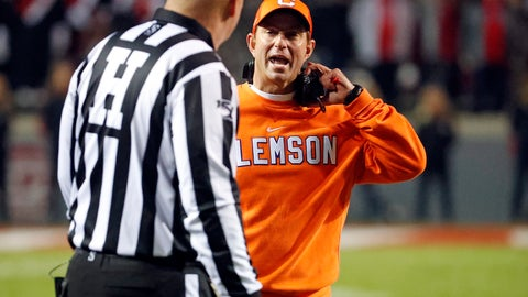 <p>               Clemson head coach Dabo Swinney speaks with an official during the second half of an NCAA college football game against North Carolina State in Raleigh, N.C., Saturday, Nov. 9, 2019. (AP Photo/Karl B DeBlaker)             </p>