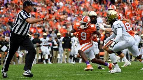 <p>               Clemson's Travis Etienne rushes for a touchdown during the first half of an NCAA college football game against Wake Forest, Saturday, Nov. 16, 2019, in Clemson, S.C. (AP Photo/Richard Shiro)             </p>