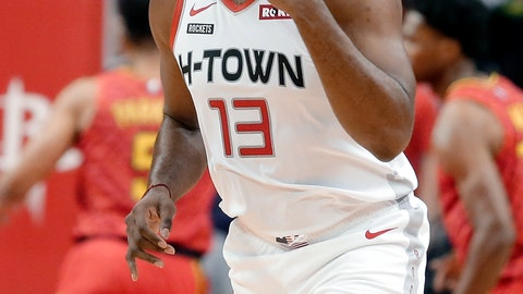 <p>               Houston Rockets guard James Harden (13) reacts after scoring a 3-point shot against the Atlanta Hawks during the first half of an NBA basketball game, Saturday, Nov. 30, 2019, in Houston. (AP Photo/Michael Wyke)             </p>
