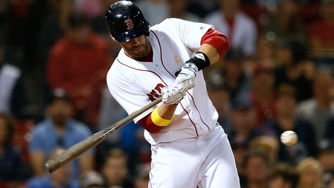 <p>               FILE - In this Sept. 7, 2019, file photo, Boston Red Sox's J.D. Martinez hits a solo home run during the ninth inning of a baseball game against the New York Yankees in Boston. Red Sox designated hitter Martinez has decided to keep his contract with the team instead of becoming a free agent again. (AP Photo/Michael Dwyer, File)             </p>