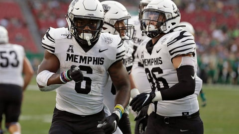 <p>               Memphis running back Patrick Taylor Jr. (6) celebrates his touchdown against South Florida during the first half of an NCAA college football game Saturday, Nov. 23, 2019, in Tampa, Fla. (AP Photo/Chris O'Meara)             </p>