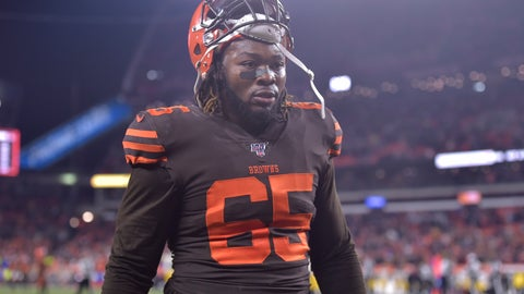 <p>               File-This Nov. 14, 2019 file photo shows Cleveland Browns defensive tackle Larry Ogunjobi walking off the field after he was ejected late in the fourth quarter of an NFL football game against the Pittsburgh Steelers in Cleveland. The one-game NFL suspension for Ogunjobi for his role in the brawl with the Pittsburgh Steelers was upheld by an appeals officer. Ogunjobi shoved Pittsburgh quarterback Mason Rudolph to the ground moments after Cleveland teammate Myles Garrett swung a helmet and struck the Steelers QB in the head. Garrett was suspended indefinitely by the league for his alarming assault. His appeal was heard in New York on Wednesday, Nov. 20, 2019. (AP Photo/David Richard, File)             </p>