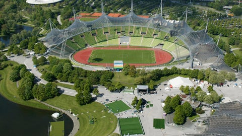 <p>               This June 2005 file photo, shows the view from the the Olympic Tower on the Olympic Park with the Olympic Stadium in Munich, Germany. Munich has been awarded the 2022 edition of the multi-sport European Championships. (AP Photo/Uwe Lein)             </p>