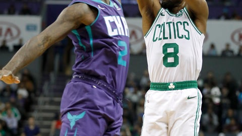 <p>               Boston Celtics' Kemba Walker (8) shoots over Charlotte Hornets' Marvin Williams (2) during the first half of an NBA basketball game in Charlotte, N.C., Thursday, Nov. 7, 2019. (AP Photo/Bob Leverone)             </p>