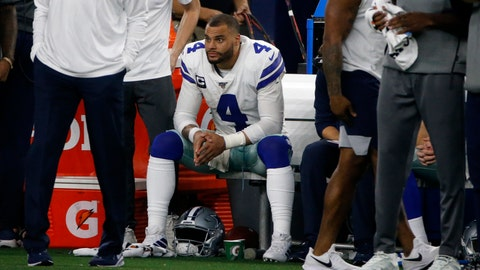 <p>               Dallas Cowboys quarterback Dak Prescott (4) sits on the bench by staff late in the second half of an NFL football game against the Buffalo Bills in Arlington, Texas, Thursday, Nov. 28, 2019. (AP Photo/Michael Ainsworth)             </p>