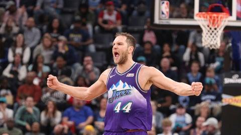 <p>               Utah Jazz forward Bojan Bogdanovic (44) reacts after he makes a basket in the second half of an NBA basketball game against the Memphis Grizzlies Friday, Nov. 29, 2019, in Memphis, Tenn. (AP Photo/Karen Pulfer Focht)             </p>