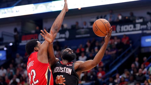 <p>               Houston Rockets guard James Harden goes to the basket against New Orleans Pelicans center Derrick Favors (22) in the first half of an NBA basketball game in New Orleans, Monday, Nov. 11, 2019. The Rockets won 122-116. (AP Photo/Gerald Herbert)             </p>