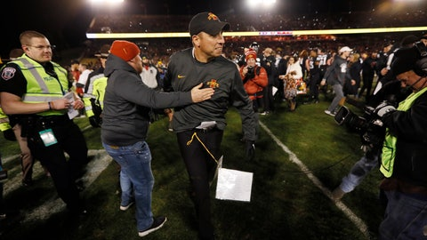 <p>               Iowa State head coach Matt Campbell, center, celebrates with fans after an NCAA college football game against Texas, Saturday, Nov. 16, 2019, in Ames, Iowa. Iowa State won 23-21. (AP Photo/Charlie Neibergall)             </p>