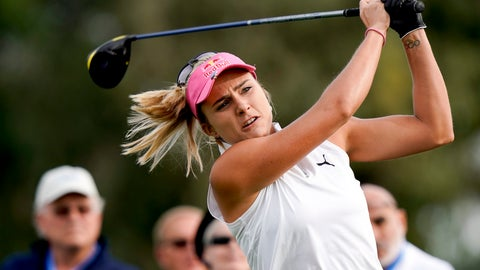 <p>               FILE - In this Thursday, April 4, 2019 file photo, Lexi Thompson hits her tee shot on the second hole during the first round of the LPGA Tour ANA Inspiration golf tournament at Mission Hills Country Club in Rancho Mirage, Calif. Thompson has gone five years since her only major title. (AP Photo/Chris Carlson, File)             </p>