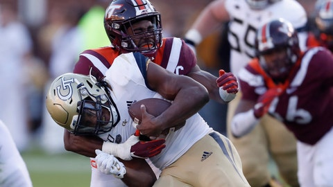 <p>               Georgia Tech running back Jordan Mason (27) is tackled by Virginia Tech defensive back Divine Deablo (17) in the first half of an NCAA football game Saturday, Nov. 16, 2019, in Atlanta. (AP Photo/John Bazemore)             </p>