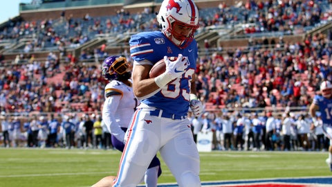 <p>               SMU tight end Kylen Granson scores a touchdown during the first half of an NCAA college football game against East Carolina, Saturday, Nov. 9, 2019, in Dallas. (AP Photo/Roger Steinman)             </p>