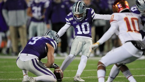 <p>               Kansas State placekicker Blake Lynch (10) boots a field goal during the second half of an NCAA college football game against Iowa State in Manhattan, Kan., Saturday, Nov. 30, 2019. (AP Photo/Orlin Wagner)             </p>