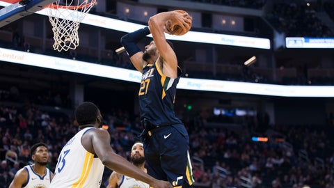 <p>               Utah Jazz center Rudy Gobert (27) shoots against the Golden State Warriors in the second half of an NBA basketball game in San Francisco, Monday, Nov. 11, 2019. The Jazz won 122-108. (AP Photo/John Hefti)             </p>