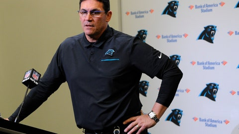 <p>               Carolina Panthers head coach Ron Rivera speaks to members of the media following an NFL football game against the Atlanta Falcons in Charlotte, N.C., Sunday, Nov. 17, 2019. (AP Photo/Mike McCarn)             </p>