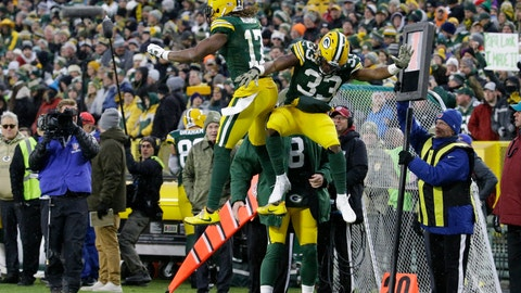 <p>               Green Bay Packers' Aaron Jones celebrates his touchdown run with Davante Adams during the first half of an NFL football game against the Carolina Panthers Sunday, Nov. 10, 2019, in Green Bay, Wis. (AP Photo/Mike Roemer)             </p>