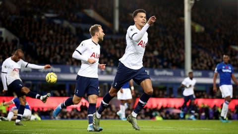 <p>               Tottenham Hotspur's Dele Alli celebrates scoring against Everton during the English Premier League soccer match at Goodison Park, Liverpool, England, Sunday Nov. 3, 2019. (Nick Potts/PA via AP)             </p>
