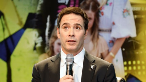<p>               NASCAR driver Jimmie Johnson pauses during his retirement from driving announcement at Hendrick Motorsports near Charlotte, N.C., Thursday, Nov. 21, 2019. (AP Photo/Bob Leverone)             </p>