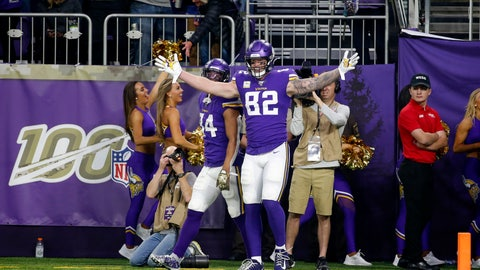 <p>               Minnesota Vikings tight end Kyle Rudolph celebrates after catching a 32-yard touchdown pass during the second half of an NFL football game against the Denver Broncos, Sunday, Nov. 17, 2019, in Minneapolis. (AP Photo/Bruce Kluckhohn)             </p>