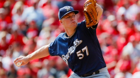 <p>               FILE - In this Sept. 26, 2019, file photo, Milwaukee Brewers starting pitcher Chase Anderson throws in the first inning of a baseball game against the Cincinnati Reds in Cincinnati. The Brewers cut $15 million in payroll for next season, trading right-hander Anderson to the Toronto Blue Jays on Monday, Nov. 4, 2019, for prospect Chad Spanberger and declining a $7.5 million option on first baseman Eric Thames. (AP Photo/John Minchillo, File)             </p>
