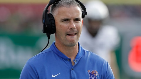 <p>               Memphis head coach Mike Norvell watches the action against South Florida during the first half of an NCAA college football game Saturday, Nov. 23, 2019, in Tampa, Fla. (AP Photo/Chris O'Meara)             </p>