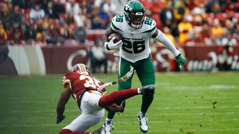 <p>               New York Jets running back Le'Veon Bell (26) moves past Washington Redskins strong safety Montae Nicholson (35) in the first half of an NFL football game, Sunday, Nov. 17, 2019, in Landover, Md. (AP Photo/Patrick Semansky)             </p>