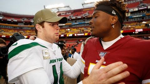 <p>               New York Jets quarterback Sam Darnold (14) speaks with Washington Redskins quarterback Dwayne Haskins (7) after an NFL football game, Sunday, Nov. 17, 2019, in Landover, Md. New York Jets won 34-17. (AP Photo/Alex Brandon)             </p>