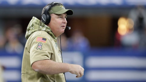 <p>               Jacksonville Jaguars head coach Doug Marrone watches during the first half of an NFL football game against the Indianapolis Colts, Sunday, Nov. 17, 2019, in Indianapolis. (AP Photo/Michael Conroy)             </p>