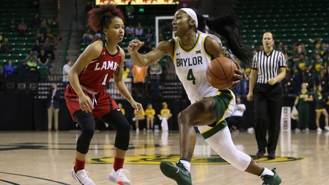 <p>               Baylor Te'a Cooper (4) drives against Lamar guard Jadyn Pimentel (1) in the second half of an NCAA college basketball game, Thursday, Nov. 21, 2019, in Waco, Texas. (AP Photo/Jerry Larson)             </p>