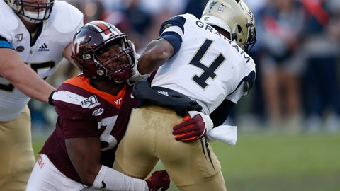 <p>               Georgia Tech quarterback James Graham (4) is sacked by Virginia Tech defensive lineman DaShawn Crawford (36) in the first half of an NCAA football game Saturday, Nov. 16, 2019, in Atlanta. (AP Photo/John Bazemore)             </p>