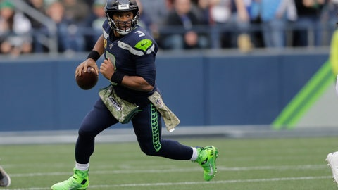 <p>               Seattle Seahawks quarterback Russell Wilson scrambles against the Tampa Bay Buccaneers during the second half of an NFL football game, Sunday, Nov. 3, 2019, in Seattle. (AP Photo/John Froschauer)             </p>