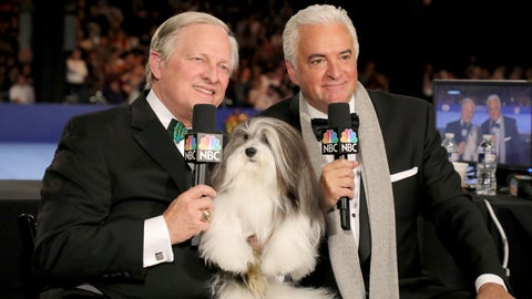 <p>               This image released by NBC shows David Frei, left, and host John O'Hurley posing with a havanese dog at The National Dog Show in Philadelphia. The annual parade of pooches has become one of the highest-rated shows of Thanksgiving. (Bill McCay/NBC via AP)             </p>