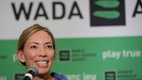 """<p>               FILE - In this June 5, 2018, file photo, Beckie Scott, World Anti-Doping Agency athlete committee chairperson, speaks at a news conference following the agency's first Global Athlete Forum in Calgary, Alberta One of her proudest accomplishments was getting an athlete charter of rights approved and into the WADA code book. That happened Thursday, Nov. 7, 2019, the last day of her term as chair. """"My hope is that going forward, voices that challenge or dissent will be heard and taken into consideration rather than undermined or dismissed,"""" Scott said in her speech. """"And my hope is that going forward, balance and independence will be restored to these tables, so that all interests and priorities here are aligned with equality of opportunity and fairness, rather than the business of sport."""". (Jeff McIntosh/The Canadian Press via AP, File)             </p>"""