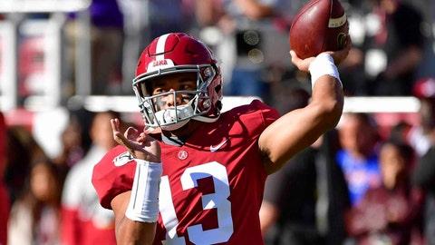 <p>               Alabama quarterback Tua Tagovailoa (13) warms up before an NCAA football game against LSU, Saturday, Nov. 9, 2019, in Tuscaloosa , Ala. (AP Photo/Vasha Hunt))             </p>