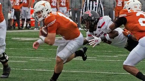 <p>               Texas quarterback Sam Ehlinger (11) runs for a touchdown during the first half of an NCAA college football game against Texas Tech, Friday, Nov. 29, 2019, in Austin, Texas. (AP Photo/Michael Thomas)             </p>