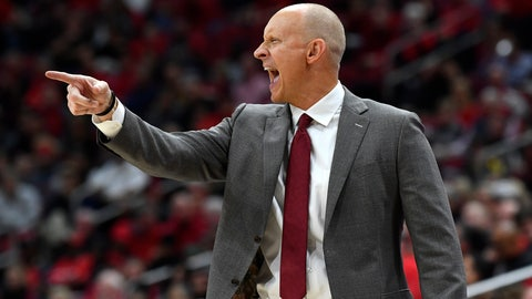 <p>               Louisville head coach Chris Mack shouts instructions to his players during the second half of an NCAA college basketball game against Akron in Louisville, Ky., Sunday, Nov. 24, 2019. (AP Photo/Timothy D. Easley)             </p>
