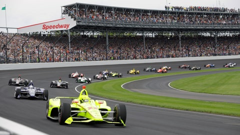 <p>               FILE - In this May 26, 2019, file photo, Simon Pagenaud, of France, leads the field through the first turn on the start of the Indianapolis 500 IndyCar auto race at Indianapolis Motor Speedway, in Indianapolis. Indianapolis Motor Speedway and the IndyCar Series have been sold to Penske Entertainment Corp. in a stunning announcement that relinquishes control of the iconic speedway from the Hulman family after 74 years. (AP Photo/Darron Cummings, File)             </p>