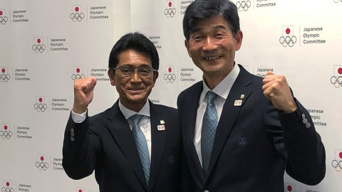 <p>               Tsuyoshi Fukui, left, poses with Mitsugi Ogata during a press conference in Tokyo Tuesday, Nov. 26, 2019. Fukui was named  to head Japan's team at next year's Tokyo Olympics and Ogata was named as the deputy head of the delegation. (AP Photo/ Stephen Wade)             </p>