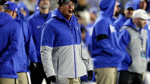 <p>               Duke head coach David Cutcliffe looks on from the sidelines during the second half of an NCAA college football game against Notre Dame in Durham, N.C., Saturday, Nov. 9, 2019. (AP Photo/Gerry Broome)             </p>