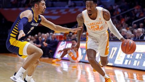 <p>               Tennessee guard Jordan Bowden (23) drives against Chattanooga guard Jonathan Scott (1) during the first half of an NCAA college basketball game Monday, Nov. 25, 2019, in Knoxville, Tenn. (AP Photo/Wade Payne)             </p>
