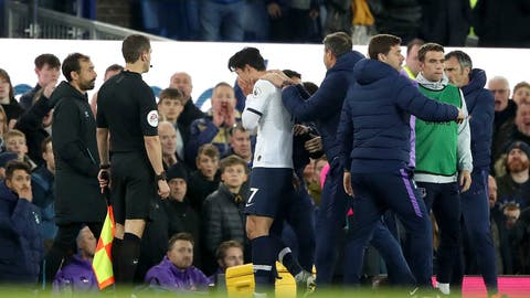 <p>               Tottenham Hotspur's Son Heung-min reacts as he is sent off for a challenge on Everton's Andre Gomes during the English Premier League soccer match at Goodison Park, Liverpool, England, Sunday Nov. 3, 2019. (Nick Potts/PA via AP)             </p>