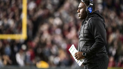 <p>               Vanderbilt coach Derek Mason watches from the sideline during the first half of the team's NCAA college football game against South Carolina on Saturday, Nov. 2, 2019, in Columbia, S.C. South Carolina defeated Vanderbilt 24-7. (AP Photo/Sean Rayford)             </p>