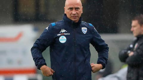 <p>               Brescia's head coach Eugenio Corini looks on during the Italian Serie A soccer match between Verona and Brescia at the Bentegodi stadium in Verona, Italy, Sunday, Nov. 3, 2019. (Simone Venezia/ANSA via AP)             </p>