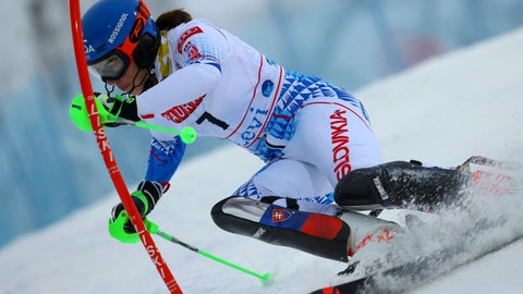 <p>               Slovakia's Petra Vlhova competes during an alpine ski, women's slalom in Levi, Finland, Saturday, Nov. 23, 2019. (AP Photo/Alessandro Trovati)             </p>