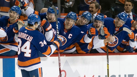 <p>               New York Islanders center Cole Bardreau (34) celebrates after scoring on a penalty shot against the Ottawa Senators during the second period of an NHL hockey game, Tuesday, Nov. 5, 2019, in New York. (AP Photo/Mary Altaffer)             </p>