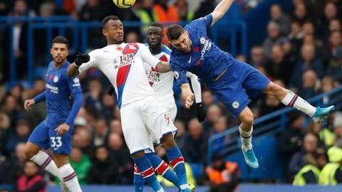 <p>               Chelsea's Mateo Kovacic, right, challenges Crystal Palace's Jordan Ayew during their English Premier League soccer match between Chelsea and Crystal Palace at Stamford Bridge stadium in London, Saturday, Nov. 9, 2019. (AP Photo/Alastair Grant)             </p>