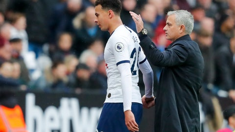 <p>               Tottenham's manager Jose Mourinho, right, accompanies Tottenham's Dele Alli as he leaves the field during the English Premier League soccer match between West Ham and Tottenham, at London stadium, in London, Saturday, Nov. 23, 2019.(AP Photo/Frank Augstein)             </p>