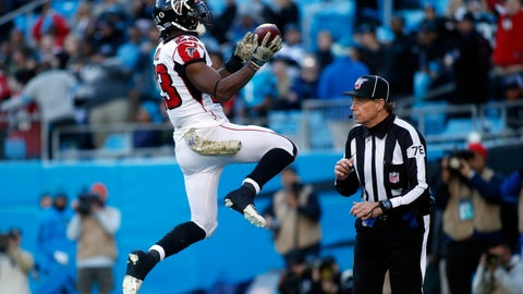 <p>               Atlanta Falcons running back Brian Hill (23) celebrates his touchdown against the Carolina Panthers during the second half of an NFL football game in Charlotte, N.C., Sunday, Nov. 17, 2019. (AP Photo/Brian Blanco)             </p>