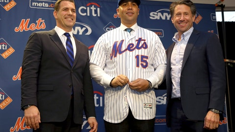 <p>               The new New York Mets manager, Carlos Beltran, center, poses for a picture with general manager Brodie Van Wagenen, left, and Mets COO Jeff Wilpon during a baseball news conference at Citi Field, Monday, Nov. 4, 2019, in New York. Beltran, two years removed from his playing career and with no managerial experience, has been picked by the Mets to replace Mickey Callaway. (AP Photo/Seth Wenig)             </p>